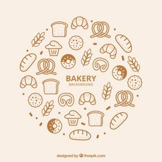 Laden Sie Bakery Background In Flat Style kostenlos herunter Bakery Branding, Bakery Packaging, Bakery Logo Design, Menu Design, Branding Design, Stationary Design, Corporate Branding, Logo Branding, Brand Identity