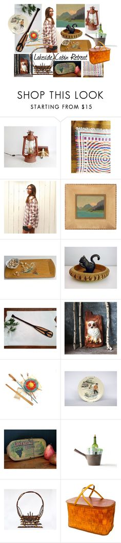 """""""Lakeside Cabin Retreat"""" by vintageandmain ❤ liked on Polyvore featuring interior, interiors, interior design, home, home decor, interior decorating, Concord, rustic and vintage"""