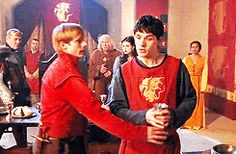The poisoned chalice. The look on Merlin's face at the end of this gif. He knows the cup is poisoned, but he will still do it.