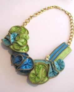 Green, blue and light blue zipper necklace