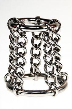 Double anneau de pénis en acier avec chaine