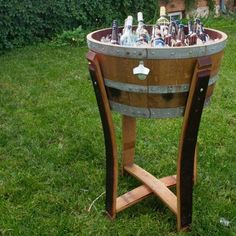 Wine Barrel Beverage Chiller with Stand : Alpine Wine Design Wine Barrel Garden, Wine Barrel Crafts, Wine Barrel Table, Barrel Bar, Wine Barrels, Bourbon Barrel, Wine Barrel Wedding, Whiskey Barrel Furniture, Barrel Projects