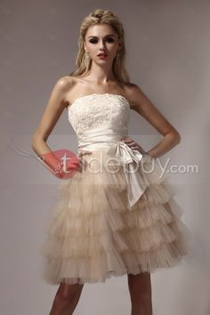 Gorgeous Min Strapless Tiered Bowknot Appliques Dasha's Prom/Homecoming Dress : Tidebuy.com
