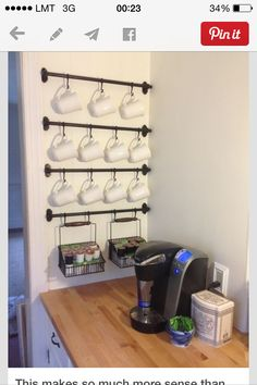 hooks for mugs & baskets - great idea for mail room