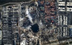 An aerial view of the destruction after the explosion in Tianjin, China.General News, Third Prize, Singles #refinery29 http://www.refinery29.com/2016/02/103524/world-press-photo-finalists-2015#slide-6