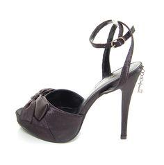 ELLIE Black/Black Satin Peep Toe MARIANE Platform -5-11 - 5-12