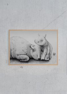 Morten Løfbjerg - Rhino with Cub | Just Spotted