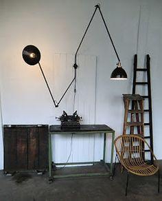 WO AND WÉ COLLECTION: Lampe murale industrielle deux bras articulés & orientables