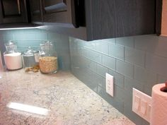 This Ocean color glass subway tile!