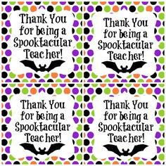 Halloween Teacher Gift Printable Thank You Tag Spooktacular Teacher Halloween Teacher Gifts, Teacher Gift Tags, Teacher Treats, Teacher Thank You, Halloween Tags, School Treats, School Gifts, Student Gifts, Holidays Halloween