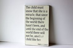 This child is a miracle distressed sign, typography sign, shabby chic sign, childrens sign. $39.00, via Etsy.