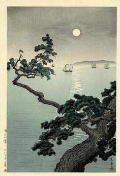 Tsuchiya Koitsu: Full Moon at Akashi Beach