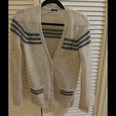 J crew mohair cardigan sweater xs Very nice classic cardigan from j crew. Tan mohair with grey stripes. Only wore a few times J. Crew Sweaters Cardigans