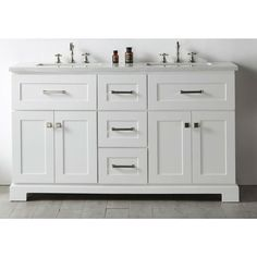 Legion Quartz Top White 60-inch Double Bathroom Vanity