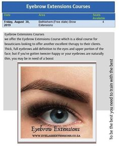 Eyebrow Extensions Courses  Book Your Course Now!! info@luscious.co.za 072 338 7000  #bethlehem #freestate Eyebrow Extensions, Full Eyebrows, Free State, Course Offering, Bethlehem, Meet The Team, Lashes, Book, Eyelashes