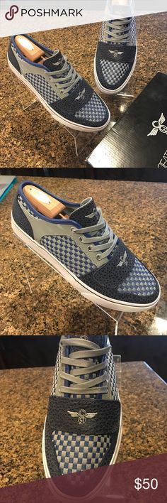CREATIVE RECREATION CESARIO LO XIV blue and gray woven design gray and blue leather panels brand new in tha box Creative Recreation Shoes Sneakers