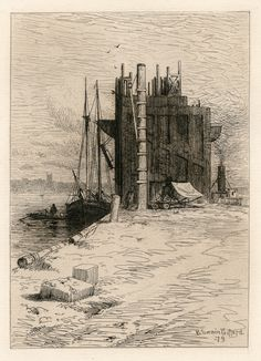 R. Swain Gifford / Coal Pockets at New Bedford / Etching, 1879 / Industry / Etching revival / Intaglio / Printmaking / Drawing / Art / Decor