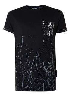CRIMINAL DAMAGE Black, Grey and White Paint Splat T-Shirt* - New In