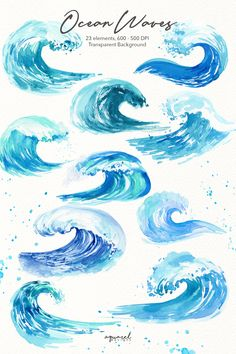 Watercolor ocean waves clipart summer beach invitation Sea Waves scrapbooking Nautical Clip Art personal and commercial use PNG Watercolor Ocean, Watercolor Paintings, Wave Paintings, Ocean Wave Painting, Watercolor Tattoos, Body Painting, Wave Clipart, Ocean Drawing, Beach Drawing