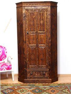 Antik-look orient Massivholz Eck Kleiderschrank Regal Schrank aus Afghanistan