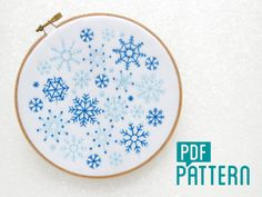 Snowflakes Embroidery Pattern, Snow Needlework Pattern, Christmas Embroidery, Xmas Hoop Art Pattern, DIY Christmas Decor, Winter Embroidery