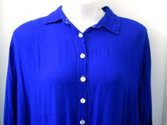 MIB Blue Blouse Size 4X White Button Front 100% Rayon 3/4 Sleeves Top Stitching #MIB #ButtonDownShirt #Casual