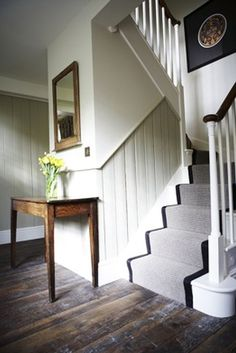 This country home meets modern sleek! The brick and wood accents are balanced by steel and leather touches throughout the entire place. Tongue And Groove Panelling, Carpet Stairs, Wall Carpet, Grey Carpet, Interior Stairs, Carpet Design, Stairways, Home Renovation, Style At Home