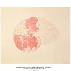 """Agnes Denes, 1979, Isometric Systems in Isotropic Space—Map Projections: The Snail, 3-color hand-pulled lithography, 28x36"""", ed. 25."""