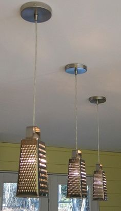 DIY Kitchen Lights, love this except I would use some very cute lanterns we have!  I THINK IT WOULD BE CUTE TO HAVE ONE GREATER AND ONE STRAINER ..... :)
