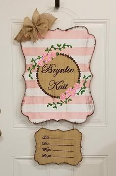 Hospital Baby Girl Door Hanger - Amelia Baby Name - Ideas of Amelia Baby Name - Excited to share this item from my shop: Hospital Baby Girl Door Hanger Hospital Door Baby, Hospital Door Wreaths, Hospital Door Hangers, Baby Door Signs, Baby Name Signs, Baby Door Hangers, Baby Girl Names, Diy For Girls, Baby Decor