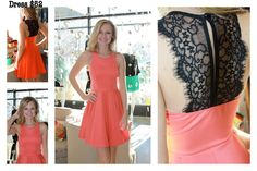 Coral dress with black lace back