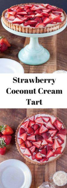 Delicious strawberry coconut cream tart! Yum!