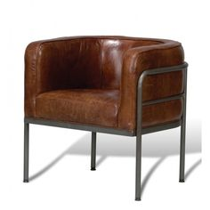 Brenda Leather Accent Chair - Inside the Studio on Joss & Main Dot And Bo, Brown Leather Chairs, Cow Leather, Vintage Leather, Real Leather, Metal Dining Chairs, Dining Table, Small Chairs, Small Sofa