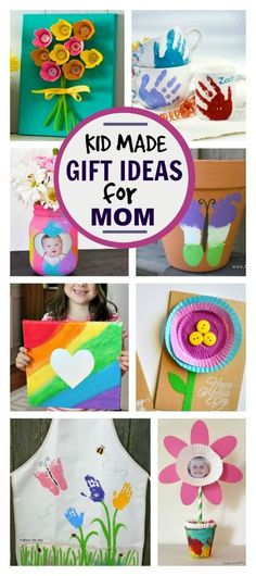 25 utterly adorable kid-made gifts for mom or grandma. LOVE these! #mothersday #kidmadegiftideas #giftsformom #kidscrafts