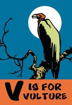 V is for Vulture 24x36 Giclee