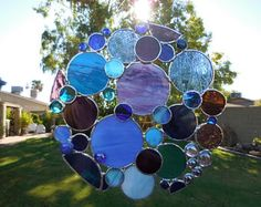 Stained Glass Bubble Panel-Suncatcher-Handmade-Unique gift Idea-Christmas-Birthday-Window Decor-House Warming-Wedding- Glass Art-Gifts