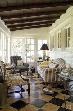 The Cottage Porch, Wicker, Toile Fabric, Painted Floor, Original Beams, Cane