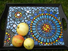 Wooden tray covered by glass mosaic blue yellow by rasosmozaika