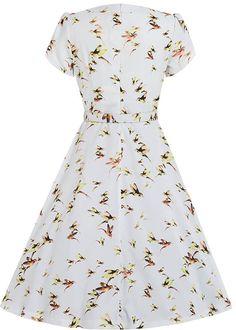 Lindy Bop Clarissa Hummingbird 40's Jurk Wit - Jurkjes