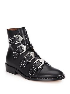 65870d6153efd9 Givenchy Studded Leather Buckled Ankle Boots Givenchy Studded Boots,  Studded Ankle Boots, Buckle Ankle