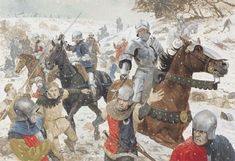 The defeated Lancastrian army flees from the battlefield, down Towton Dale towards the River Cock, pursued and cut down by the victorious Yorkists. by Graham Turner. Medieval Knight, Medieval Fantasy, Military Art, Military History, Civil War Art, Wars Of The Roses, Early Middle Ages, British History, Ancient History