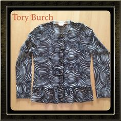 SALE! Tory Burch Wool Cardigan Black/Brown Versatile Tory Burch zebra-print cardigan with slight peplum hem. 100% Merino wool - thin enough to be worn year-round. Pre-loved, but no snags or pilling. Tory Burch Sweaters Cardigans