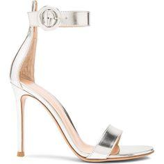 Gianvito Rossi Leather Portofino Sandals in Silver via Polyvore featuring shoes, sandals, genuine leather shoes, silver leather shoes, gianvito rossi sandals, silver leather sandals e leather footwear
