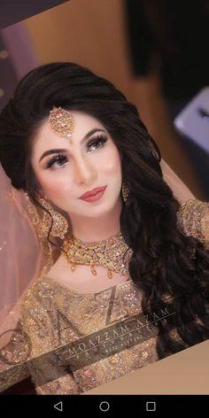 Party Makeup Pakistani Wedding Bride Ideas For 2019 Pakistani Bride Hairstyle, Pakistani Bridal Makeup Hairstyles, Pakistani Bridal Jewelry, Indian Bridal Makeup, Bridal Makeup Looks, Bridal Hair And Makeup, Wedding Makeup, Party Makeup, Bridal Mehndi