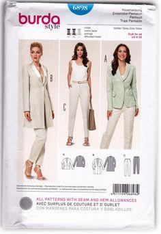 Women Semi-fitted Jackets and Pants Sewing Pattern Burda 6898 Sz 8-20