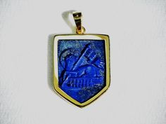 81cd0df65 Lamb Of God Pendant Handmade Lapis Heraldic Ecclesiastical 18k Gold Plated  Sterling Silver 925