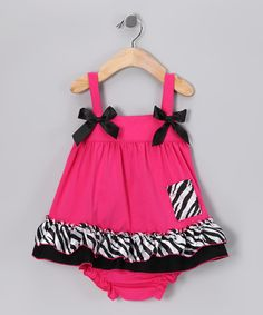 Pink & Black Zebra Pocket Swing Tunic & Diaper Cover - Infant by Under The Hooded Towels #zulily #zulilyfinds