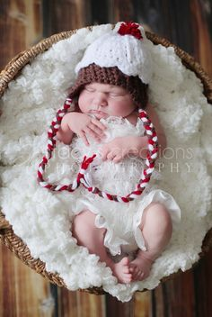 Cupcake Hat, Baby Hat, Crochet Baby Hat, Newborn Hat, Photo Prop, Brown, Red, White