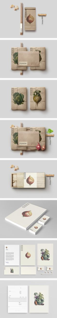 Corporate image with illustrations of vegetables and craft paper / Puree Organics branding #writeletters #stationery