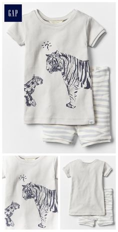Organic tiger short sleep set